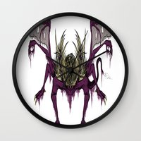 dark souls Wall Clocks featuring Gaping Dragon (Dark Souls) by Strange things collection