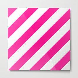 Deep pink diagonal striped pattern Metal Print