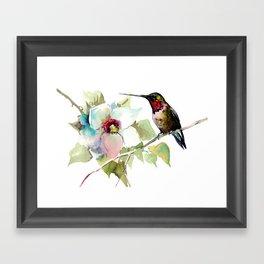 Hummingbird and White Magnolia Framed Art Print