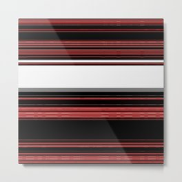 Red, Black and White with Gray Stripes Metal Print