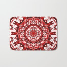 Red and White Kaleidoscope Bath Mat