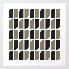 Geometric Pattern #41 (black gray) Art Print