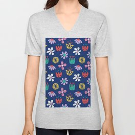 Nordic Floral in Mod Rainbow + Navy Blue Unisex V-Neck