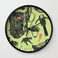ghostbusters Wall Clocks featuring Artifacts: Ghostbusters by Josh Ln