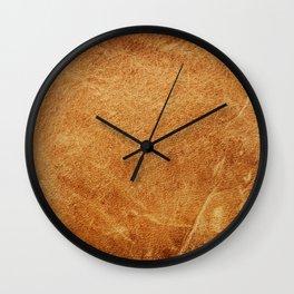 Vintage leather texture. Natural brown animal skin illustration. Wall Clock
