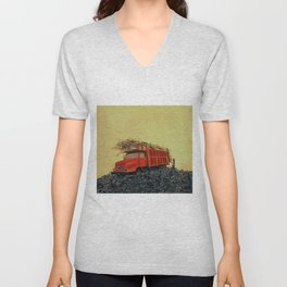 sugar cane and truck on fire Unisex V-Neck