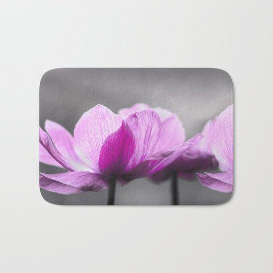 pink Anemone flowers on grey Bath Mat