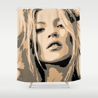 kate moss Shower Curtains featuring KATE MOSS by Christophe Chiozzi