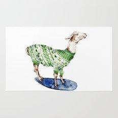 Llama in a Green Deer Sweater Rug