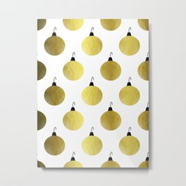 Golden Christmas Ornaments Metal Print