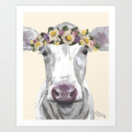 Cow With Flower Crown, Cute Cow Up Close Art Print