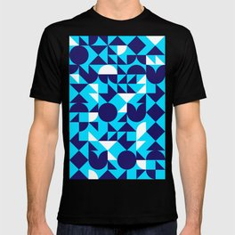 geometric blue T-shirt