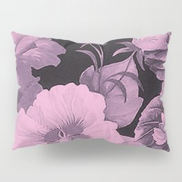 Pink florals on dark background vintage pattern Pillow Sham