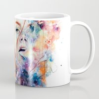 watercolour Mugs featuring this thing called art is really dangerous by agnes-cecile
