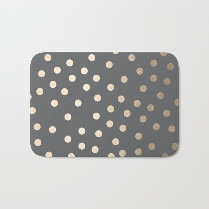 Simply Dots White Gold Sands on Storm Gray Bath Mat