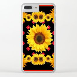 Black Western Blanket Style Sunflowers Clear iPhone Case
