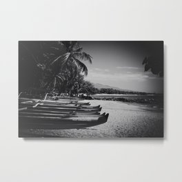 Sugar Beach Hawaiian Outrigger Canoes Kihei Maui Hawaii Metal Print