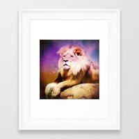 the lion king Framed Art Prints featuring King Lion by SwanniePhotoArt