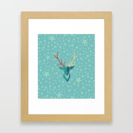 Colorful Stag (Red, Yellow, Green, Blue) Framed Art Print