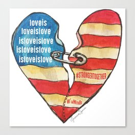 Torn Heart Flag Held Together With a Safety Pin Canvas Print