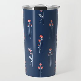 Retro Dark Flower Pattern in Modern Navy and Coral Travel Mug