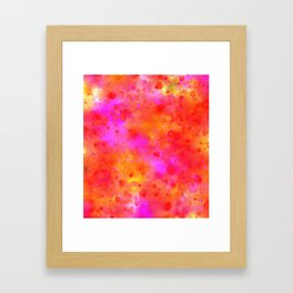 Watercolor Painting Bright Red & Summer Pink Abstract Paint Splashes Framed Art Print