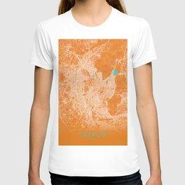 Jaipur, India, Gold, Blue, City, Map T-shirt