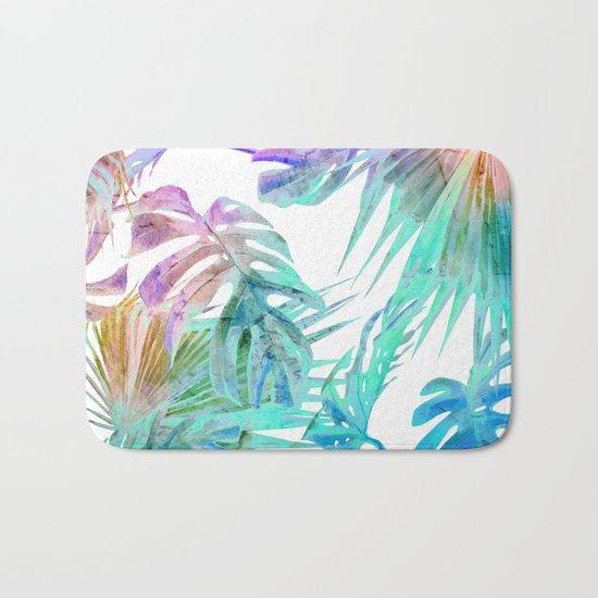 Simply Palm Leaves in Hologram Island Bath Mat