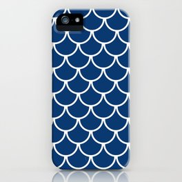 Navy Blue Fish Scales Pattern iPhone Case