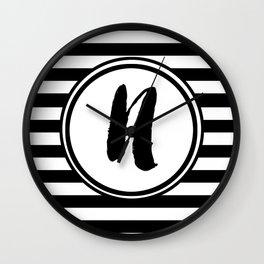 N Striped Monogram Letter Wall Clock
