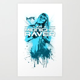 Midnight Raver Cyan Girl Art Print