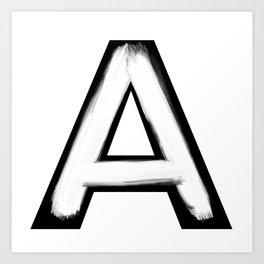 Minimalist A White Stroke Art Print
