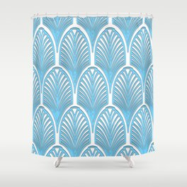 Art deco,deco,blue,white,elegant,chic,fan pattern, vintage,art nouveau,nelle epoque,victorian,beauti Shower Curtain