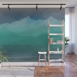 Ombre Mountainscape (Blue, Aqua) Wall Mural