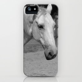 Horse In Black And White iPhone Case