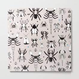 Creepy grunge insect and spider illustration pattern print Metal Print