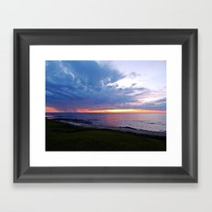 Sunset at Sea and the Rain Storm Framed Art Print