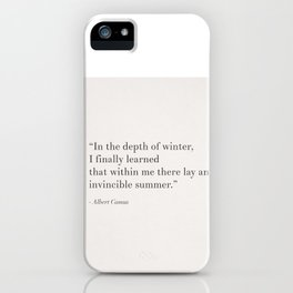 An invincible summer by Camus, white iPhone Case