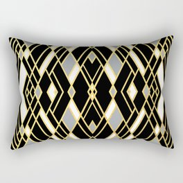 Art Deco Grey Gold Rectangular Pillow