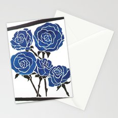 Faux Block Print Roses Stationery Cards