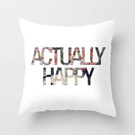Actually // Happy Throw Pillow