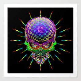 Crazy Skull Psychedelic Explosion Art Print