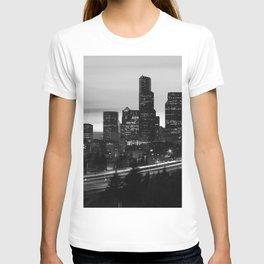 Seattle Skyline Sunset City - Black and White T-shirt