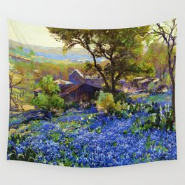 Bluebonnets at the Quarry Texas landscape desert painting by Robert Julian Onderdonk Wall Tapestry