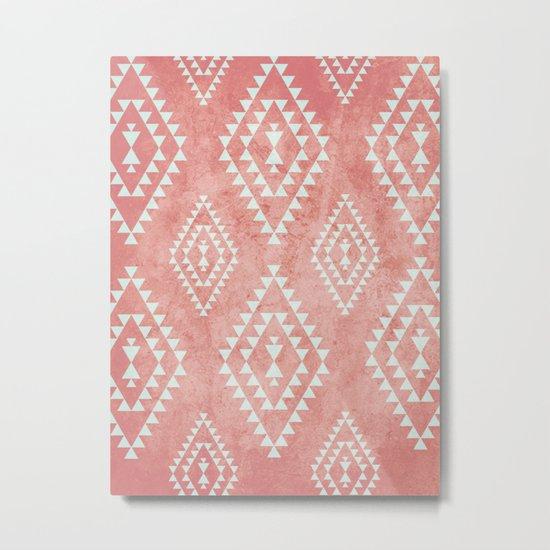 mint & coral tribal pattern (2) Metal Print