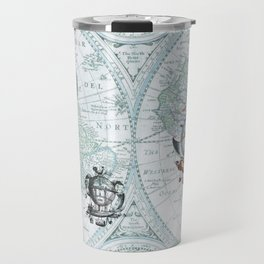 Hot Air Balloons on Antique Map - blue Travel Mug