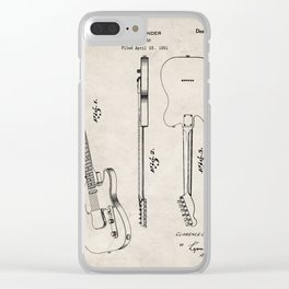 Electric Guitar Patent - Guitar Player Art - Antique Clear iPhone Case
