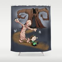 hobbes Shower Curtains featuring Ofelia and Pale Man by Plane Yogurt