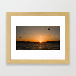 Istanbul sunset city view Framed Art Print