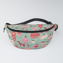 Mid-Century Ornaments in Red and Mint Fanny Pack